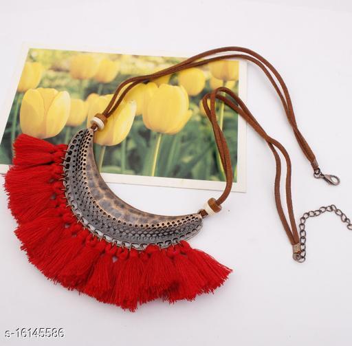 Arzonai tassel necklace, European and American jewelry, big crescent ring, accessories, big bohemian tassel sweater chain