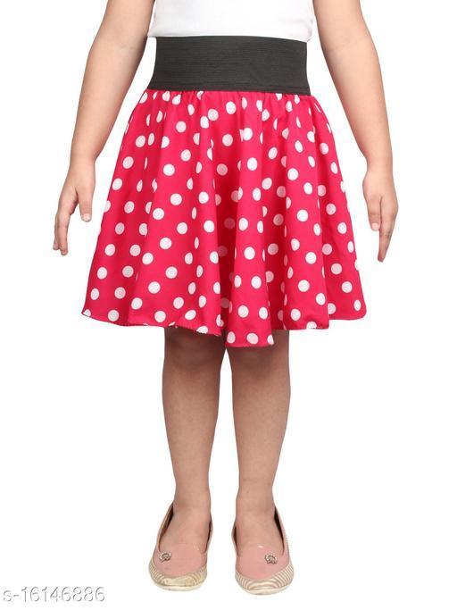 Pekuniary Stylish Polka Print Red Kids Skirt