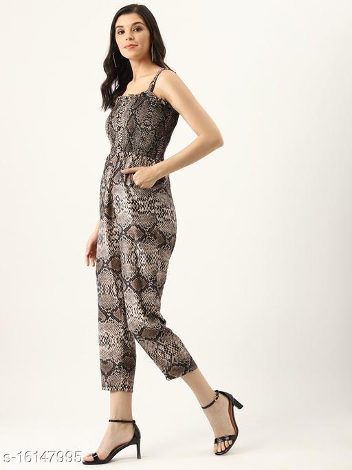 U&F Brown Polyester Off-Shoulder Party Jumpsuit