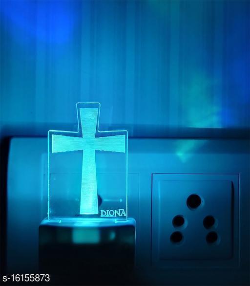 DIONA Christian Cross Symbol 3D Illusion LED Night Lamp Illusion Home Decor Acrylic 7 Colour Changing Light Christmas Gifts wall night light Christmas gift Church Table Desk Lamp Wall Night Lamp