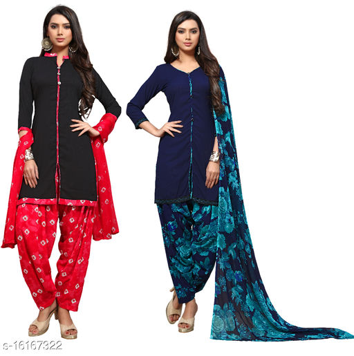 Tulip Prints Women's Crepe Printed Unstiched Dress Material (Combo Pack Of 2)