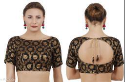 Black Cotton Boat Neck Women's Jaquard blouse