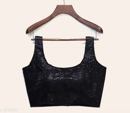 Black Satin Made In Heaven Embroidered Sequence Blouse