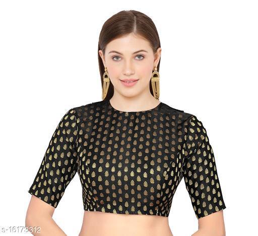 Black Silk Banarasi silk Elbow Length Sleeve Blouse