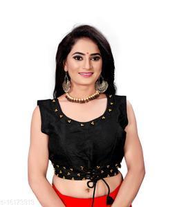 Black Silk Trendy Phantom Moti(Pearl) Worked Women Blouse