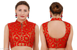 Red Cotton Collar designed Jaquard Woman blouse