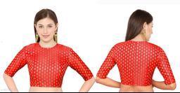 Red Silk Banarasi silk Elbow Length Sleeve Blouse
