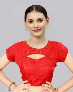 Red Satin Moti Worked and Front Cut Designer Blouse