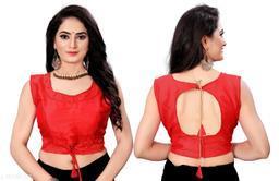 Red Silk Trendy Phantom Moti(Pearl) Worked Women Blouse