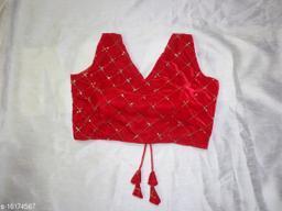 Red Velvet Embroidery Sequence Designer V-Neck Blouse
