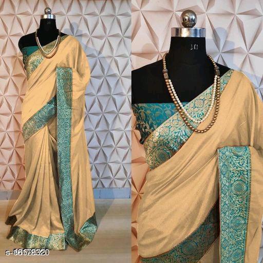 Gosriki Cream Color Art Silk Plain Saree (Naaj_Cream)
