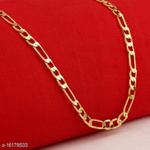 Trendy And Fancy Exclusive Block Design Light Weight Neck Chain Gold-plated Plated Brass Chain