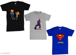 Boy's T-Shirts with Embroidered Chest Prints (Pack of 3)