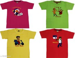 Boy's T-Shirts with Embroidered Chest Prints (Pack of 4)