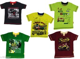Boy's T-Shirts with Double Rib Collar (Pack of 5)