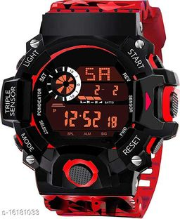 New Generation Stylish 2020 Digital Stylish Sports Militray Kids Watches Desinger Army Red Black Luxury Shade 7 Dial Lights Alarm Stopwatch Day Date Month Military Pattern Look 30M Water Resistant Digital Watch - For Boys
