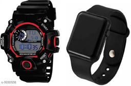 ORIGINAL BEST DIGITAL KIDS-BOYS-G-SPORT LOOK BAND SHOCK CHRONOGRAPH RESISTANCE COMBO STYLISH NEW GENERATION WATCHES FOR KIDS Rubber Strap LED Square Dial Digital Watch - For Boys