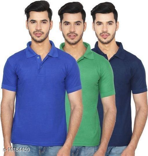Ansh Fashion Wear Pack of 3 Regular Wear Polo Neck T-shirt