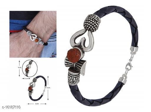 Rudraksha Beads Trishul OM Damru Spiritual Silver Plated Mahakal Shiva Genuine Leather Brown Dyed Rope Wrist Band Belt Kada Bracelet