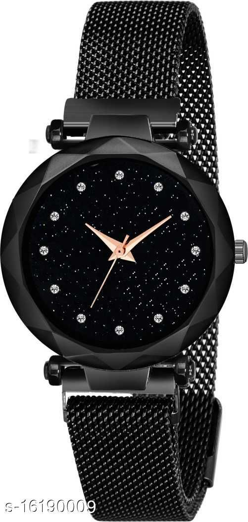 Luxury Mesh Magnet Buckle Starry sky Quartz Watches For girls Fashion Mysterious Black Lady Analog Watch Digital Watch - For Girls