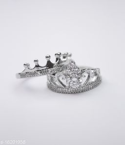 King and Queen lovers valentine couple ring Alloy Cubic Zirconia Sterling Silver Plated Ring Set