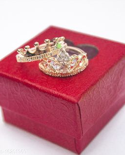 King and Queen lovers valentine couple ring Alloy Cubic Zirconia Sterling rose gold Plated Ring Set