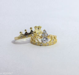 King and Queen lovers valentine couple ring Alloy Cubic Zirconia Sterling gold Plated Ring Set