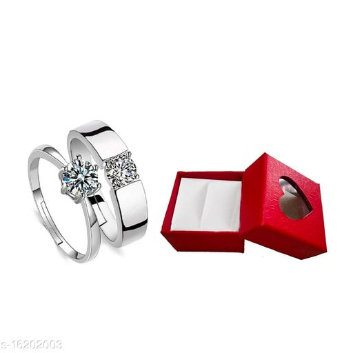 Valentine Gifts Couple Ring for Girls and Boys Valentine Day Propose ring for lovers Stainless Steel Zircon Sterling Silver Plated Ring Set