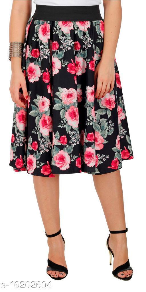 Pekuniary Galmorous & Stylish Flower Print Solid Black Skirt