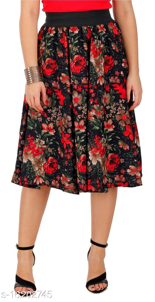 Pekuniary Galmorous & Stylish Multiple Flower Print Solid Black Skirt