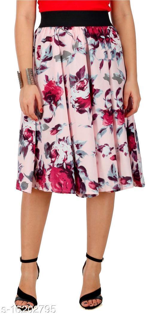 Pekuniary Glamorous & Stylish Flower Print Solid Pink Skirt