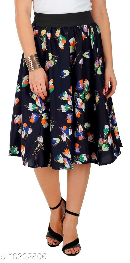 Pekuniary Galmorous & Stylish Lily Flower Print Solid Royal Blue Skirt