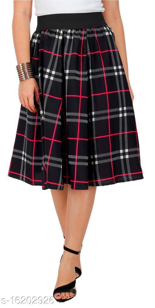 Pekuniary Galmorous & Stylish Solid Black Checked Skirt