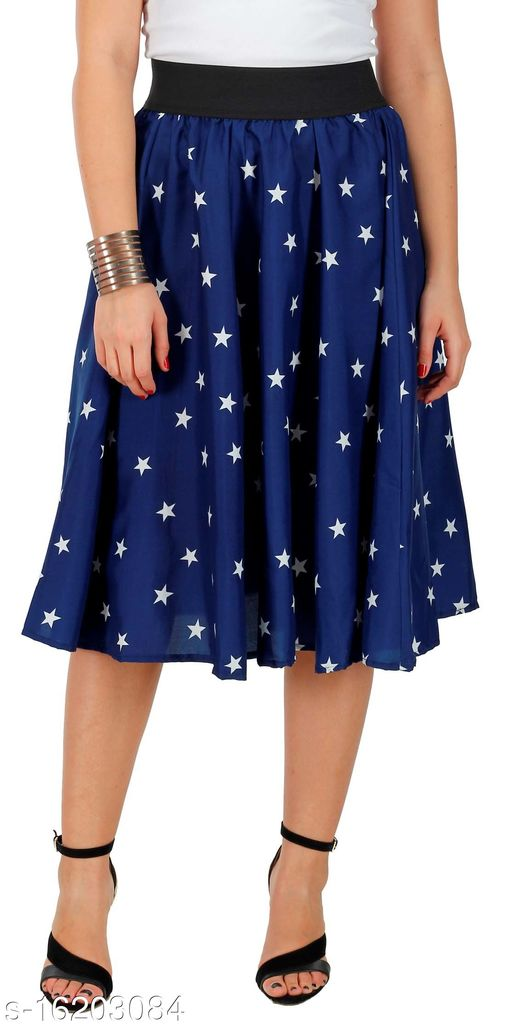 Pekuniary Galmorous & Stylish Star Print Solid Royal Blue Skirt