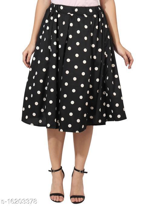 Pekuniary Glamorous & Stylish Polka Print Black Skirt