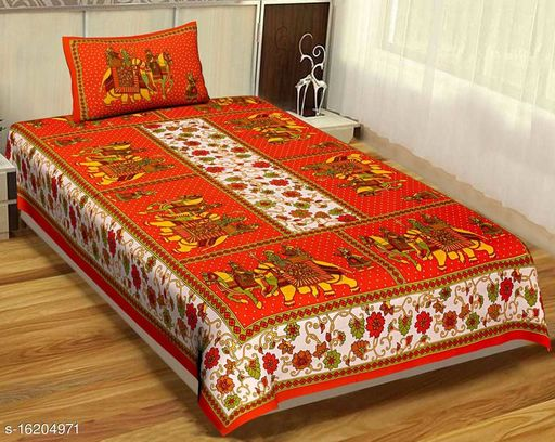 Cotton Jaipuri Print Single Bed Bedsheet with 1 Pillow Cover