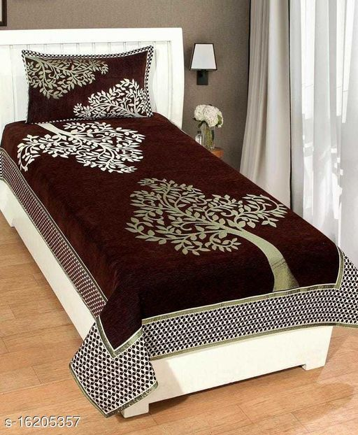 HomeStore-YEP™ Elegant & Luxurious Heavy Quality Single Bed Queen Size Chennile Bedding Set, Size-60x90 Inch,