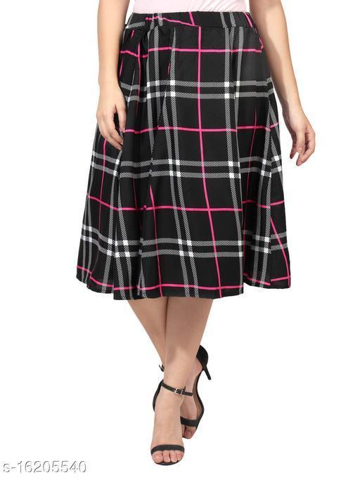 Pekuniary Glamorous & Stylish Checked Print Black Skirt
