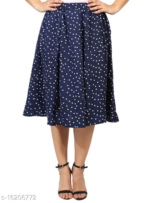 Pekuniary Glamorous & Stylish Polka Print Royal Blue Skirt(Ibpnl-2018)