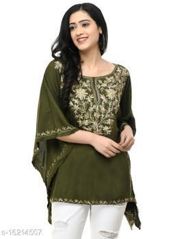 SAAKAA Women's Rayon Olive Embroidery Kaftan Top
