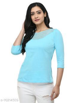 SAAKAA Women's Hosiery Sky Blue Regular Fitted Top