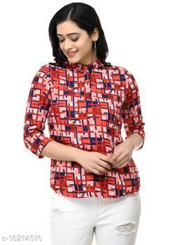 SAAKAA Women's Crepe Red Printed A Line Top