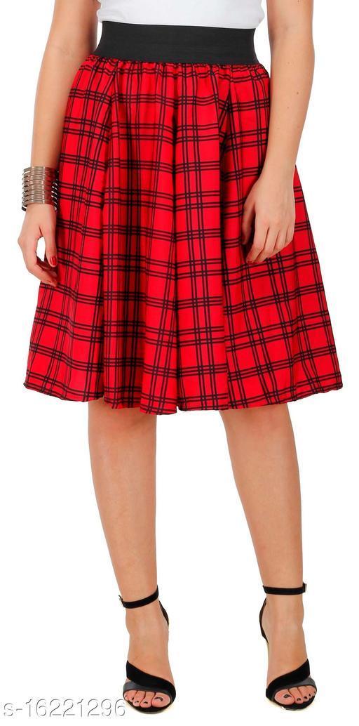 Pekuniary Glamorous & Stylish Check Print Solid Red Skirt