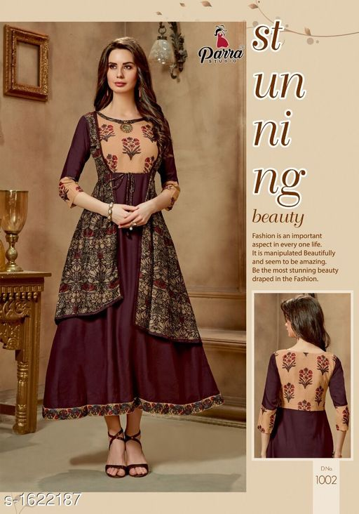 Kurtis & Kurtas Trendy Printed Women's Gown Style Kurti  *Fabric* 14 kg Rayon  *Sleeves* Sleeves Are Included  *Size* M - 38 in, XL - 42 in, 2XL - 44 in  *Length* Up To 52 in  *Type* Stitched  *Description* It Has 1 Piece of Gown Style Kurti  *Work* Printed  *Sizes Available* XXL   Catalog Rating: ★4.5 (4) Supplier Rating: ★4.1 (40) SKU: PS1 Free shipping is available for this item. Pkt. Weight Range: 300  Catalog Name: Alisha Pretty Printed Gown Style Kurtis Vol 1 - SATYAM Fashion Code: 0501-1622187--