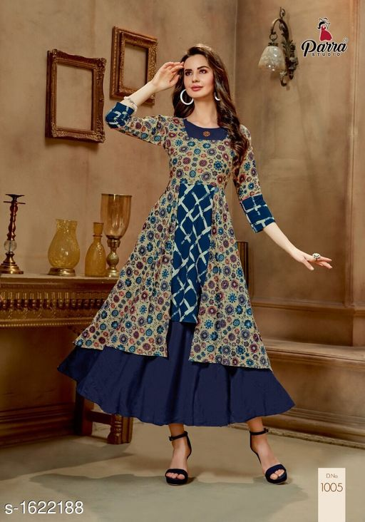 Kurtis & Kurtas Trendy Printed Women's Gown Style Kurti  *Fabric* 14 kg Rayon  *Sleeves* Sleeves Are Included  *Size* M - 38 in, XL - 42 in, 2XL - 44 in  *Length* Up To 52 in  *Type* Stitched  *Description* It Has 1 Piece of Gown Style Kurti  *Work* Printed  *Sizes Available* M, XL, XXL   Catalog Rating: ★4.5 (4) Supplier Rating: ★4.1 (40) SKU: PS2 Free shipping is available for this item. Pkt. Weight Range: 300  Catalog Name: Alisha Pretty Printed Gown Style Kurtis Vol 1 - SATYAM Fashion Code: 0501-1622188--