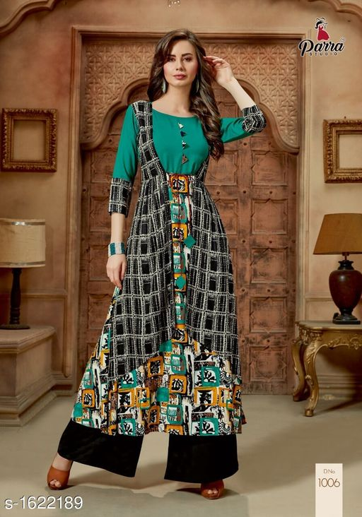 Kurtis & Kurtas Trendy Printed Women's Gown Style Kurti  *Fabric* 14 kg Rayon  *Sleeves* Sleeves Are Included  *Size* M - 38 in, XL - 42 in, 2XL - 44 in  *Length* Up To 52 in  *Type* Stitched  *Description* It Has 1 Piece of Gown Style Kurti  *Work* Printed  *Sizes Available* M   Catalog Rating: ★4.5 (4) Supplier Rating: ★4.1 (40) SKU: PS3 Free shipping is available for this item. Pkt. Weight Range: 300  Catalog Name: Alisha Pretty Printed Gown Style Kurtis Vol 1 - SATYAM Fashion Code: 0501-1622189--