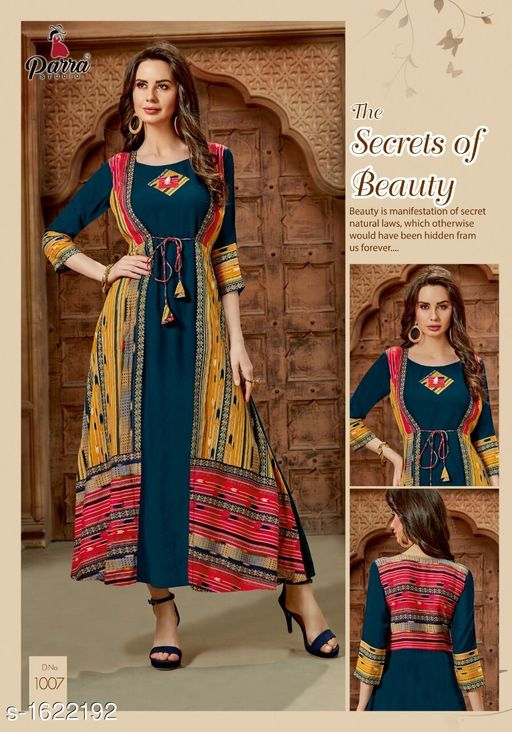 Kurtis & Kurtas Trendy Printed Women's Gown Style Kurti  *Fabric* 14 kg Rayon  *Sleeves* Sleeves Are Included  *Size* M - 38 in, XL - 42 in, 2XL - 44 in  *Length* Up To 52 in  *Type* Stitched  *Description* It Has 1 Piece of Gown Style Kurti  *Work* Printed  *Sizes Available* XXL   Catalog Rating: ★4.5 (4) Supplier Rating: ★4.1 (40) SKU: PS6 Free shipping is available for this item. Pkt. Weight Range: 300  Catalog Name: Alisha Pretty Printed Gown Style Kurtis Vol 1 - SATYAM Fashion Code: 0501-1622192--