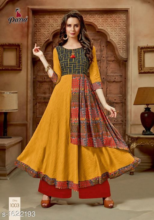 Kurtis & Kurtas Trendy Printed Women's Gown Style Kurti  *Fabric* 14 kg Rayon  *Sleeves* Sleeves Are Included  *Size* M - 38 in, XL - 42 in, 2XL - 44 in  *Length* Up To 52 in  *Type* Stitched  *Description* It Has 1 Piece of Gown Style Kurti  *Work* Printed  *Sizes Available* XL, XXL   Catalog Rating: ★4.5 (4) Supplier Rating: ★4.1 (40) SKU: PS7 Free shipping is available for this item. Pkt. Weight Range: 300  Catalog Name: Alisha Pretty Printed Gown Style Kurtis Vol 1 - SATYAM Fashion Code: 0501-1622193--