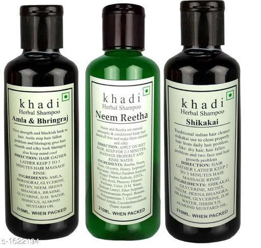 KHADI AMLA BHRINGRAJ, NEEM REETHA & SHIKAKAI SHAMPOO PACK OF 3