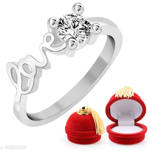 Sukai Jewels Love Solitaire with Perfume Bottle Shaped Velvet Box ring for Women and Girls